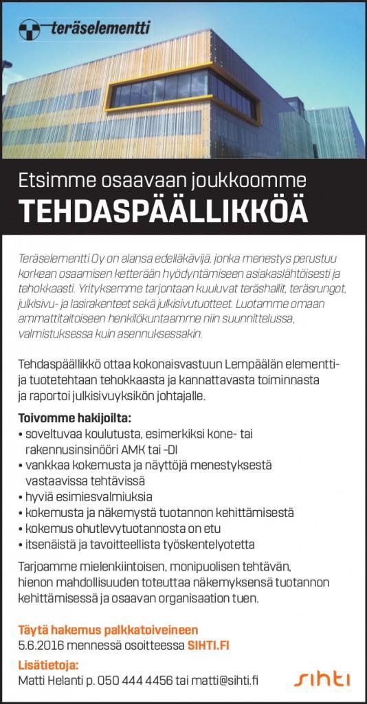 Sihti_Teräselementti_tehdaspäällikkö