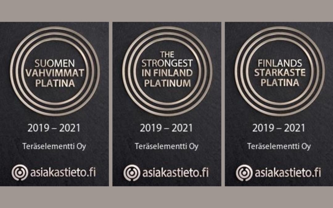 Suomen Vahvimmat Platina -sertifikaatti Teräselementille
