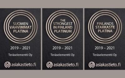 Teräselementille Suomen Vahvimmat Platina -sertifikaatti